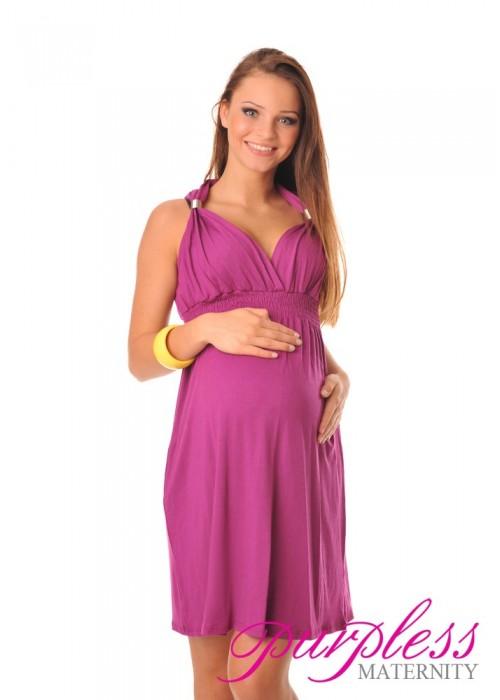 Maternity Summer Party Sun Dress 8423 Dark Pink - Purpless Ltd