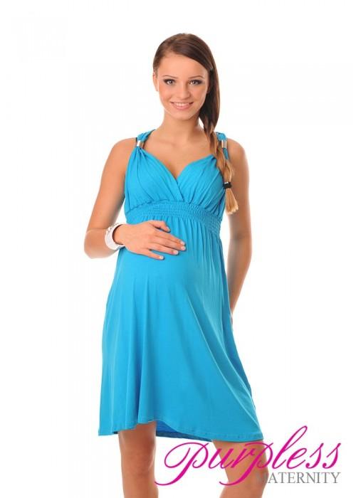 Maternity Summer Party Sun Dress 8423 Sky Blue