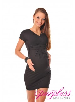 Maternity V-Neck Pregnancy Dress 8415 Black