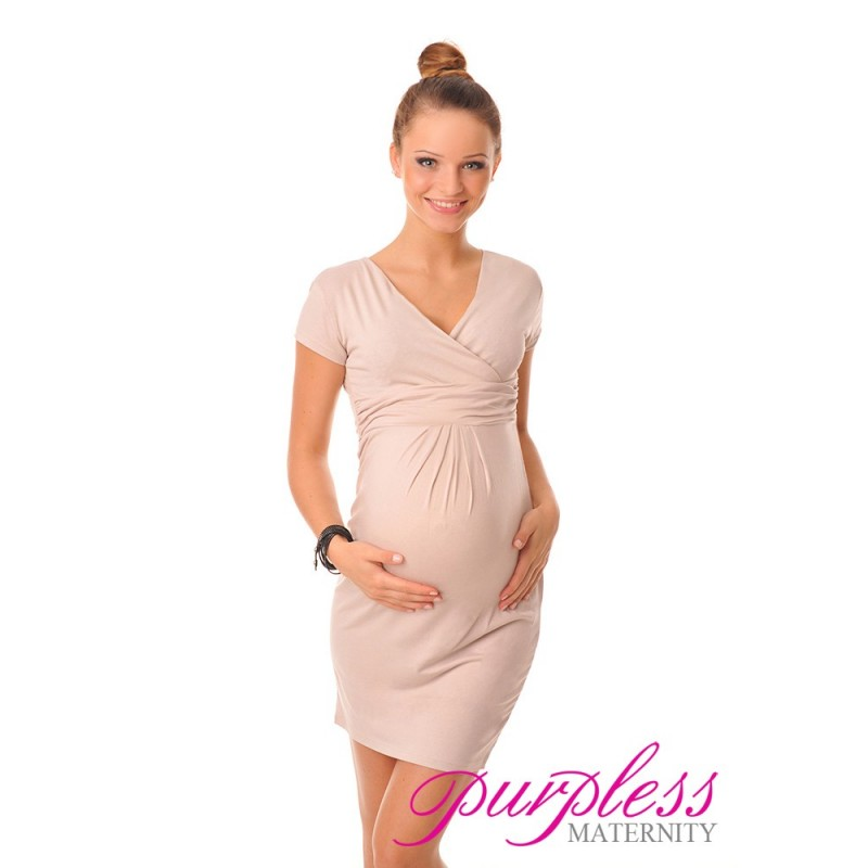 b2823ec824186 Maternity V-Neck Pregnancy Dress 8415 Beige - Purpless Ltd