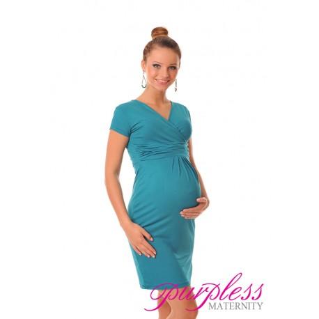 Maternity V-Neck Pregnancy Dress 8415 Dark Turquoise