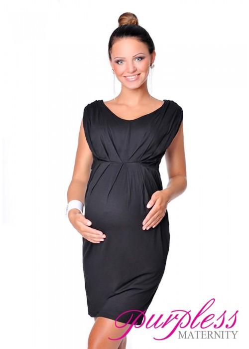 0aab8f1534407 Sleeveless V Neck Maternity Dress 8437 Black - Purpless Ltd