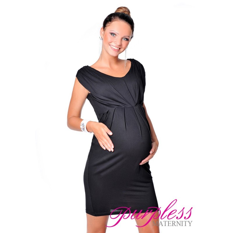 620ea52c13385 Sleeveless V Neck Maternity Dress 8437 Black - Purpless Ltd