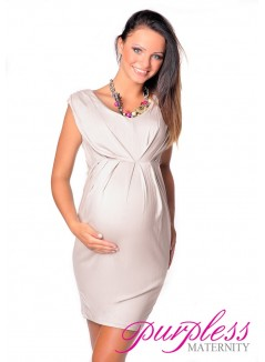 Sleeveless V Neck Maternity Dress 8437 Beige