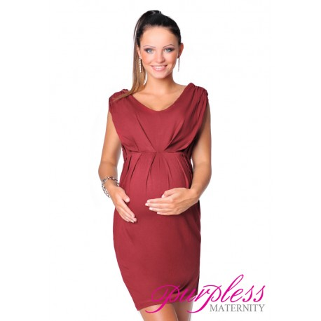 Sleeveless V Neck Maternity Dress 8437 Burgundy