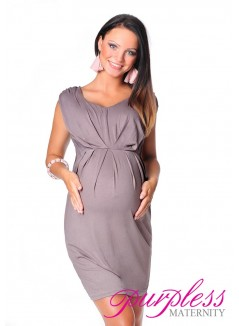 Sleeveless V Neck Maternity Dress 8437 Cappuccino