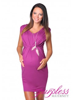 Sleeveless V Neck Maternity Dress 8437 Dark Pink