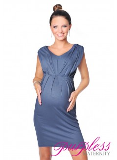 Sleeveless V Neck Maternity Dress 8437 Graphite