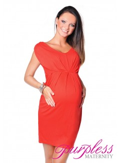 Sleeveless V Neck Maternity Dress 8437 Red