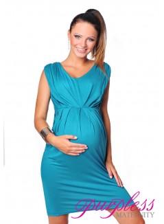 Sleeveless V Neck Maternity Dress 8437 Dark Turquoise