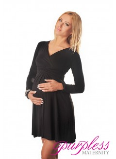 Long Sleeve Maternity V Neck Dress 4419 Black