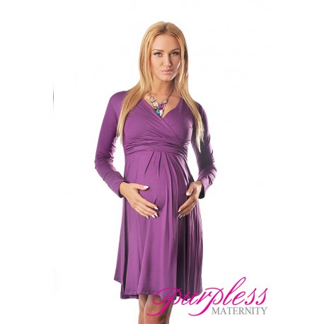 Long Sleeve Maternity V Neck Dress 4419 Violet