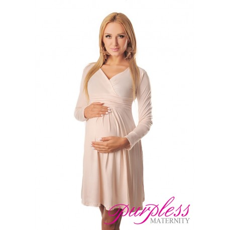 Long Sleeve Maternity V Neck Dress 4419 Cream