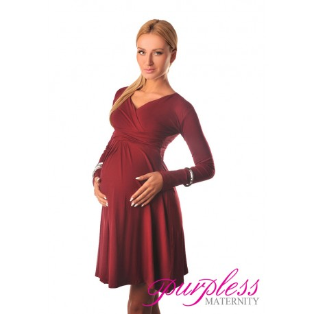 Long Sleeve Maternity V Neck Dress 4419 Burgundy