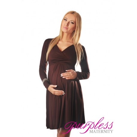 Long Sleeve Maternity V Neck Dress 4419 Brown