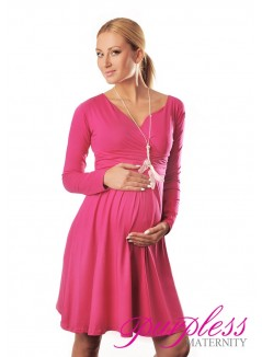 Long Sleeve Maternity V Neck Dress 4419 Hot Pink