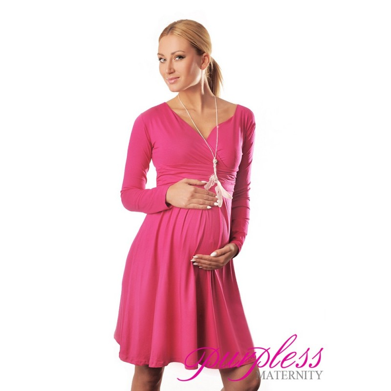0874b1f42036 Long Sleeve Maternity V Neck Dress 4419 Hot Pink