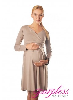 Long Sleeve Maternity V Neck Dress 4419 Light Cappuccino
