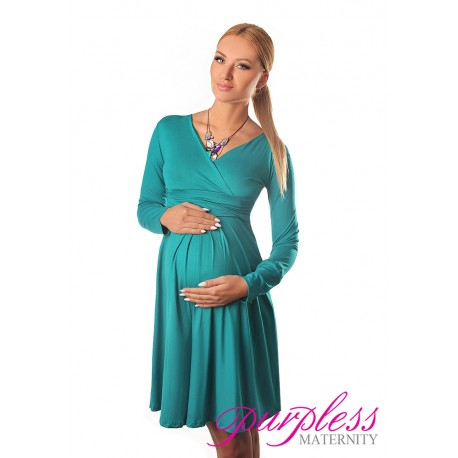 Long Sleeve Maternity V Neck Dress 4419 Dark Turquoise