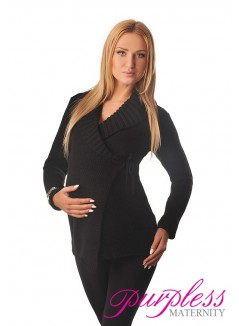Wrap Over Cardigan Pregnancy Nursing 9002 Black