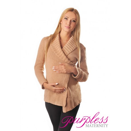 Wrap Over Cardigan Pregnancy Nursing 9002 Apricot