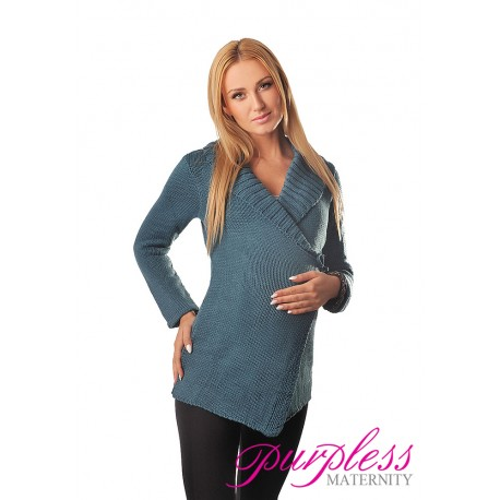 Wrap Over Cardigan Pregnancy Nursing 9002 Teal