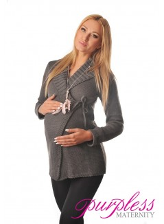 Wrap Over Cardigan Pregnancy Nursing 9002 Dark Gray