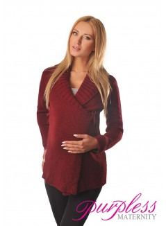 Wrap Over Cardigan Pregnancy Nursing 9002 Burgundy