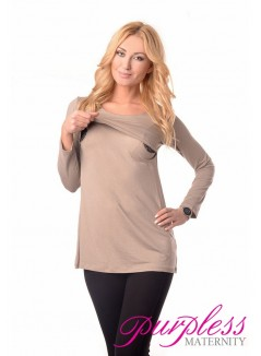 2in1 Maternity & Nursing Scoop Neck Tunic Breastfeeding 7021 Cappuccino