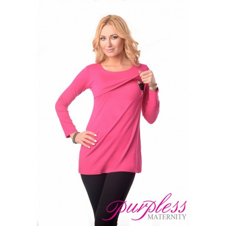 2in1 Maternity & Nursing Scoop Neck Tunic Breastfeeding 7021 Hot Pink