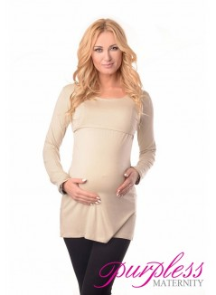2in1 Maternity & Nursing Scoop Neck Tunic Breastfeeding 7021 Beige