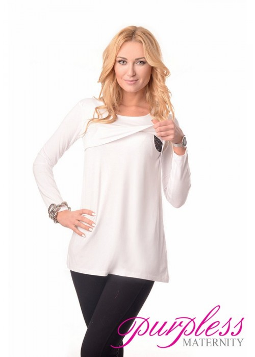 2in1 Maternity & Nursing Scoop Neck Tunic Breastfeeding 7021 White