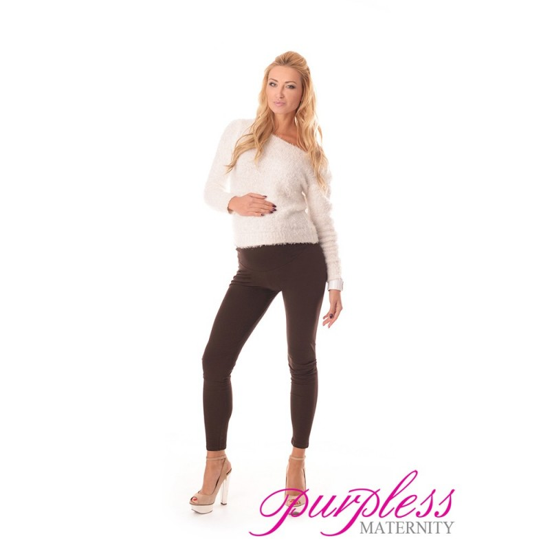 8e44444b5820d Stretchy Maternity Leggings 1000 Brown - Purpless Ltd