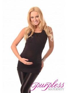 2 in 1 Maternity and Nursing Top 7005 Black
