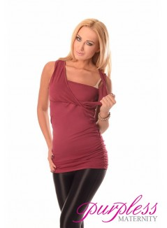 2 in 1 Maternity and Nursing Top 7005 Burgundy