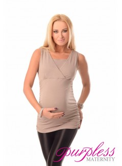 2 in 1 Maternity and Nursing Top 7005 Light Cappuccino