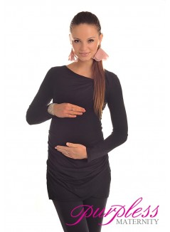Asymmetric Neck Tunic 6053 Black