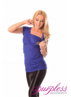 2 in 1 Maternity and Nursing Top 7006 Royal Blue