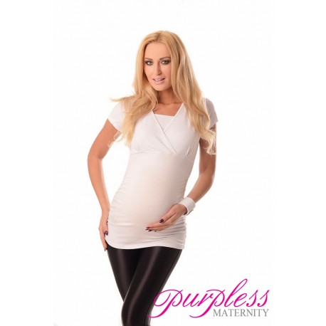2 in 1 Maternity and Nursing Top 7006 White