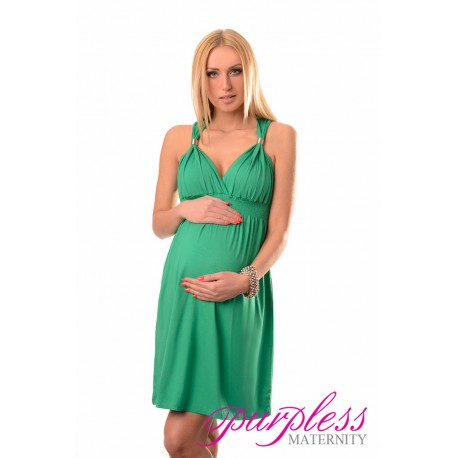 Maternity Summer Party Sun Dress 8423 Green
