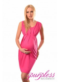 Sleeveless V Neck Maternity Dress 8437 Hot Pink