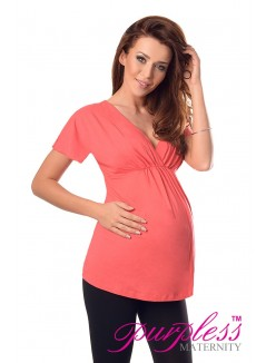 2in1 Maternity & Nursing Top 7042 Coral