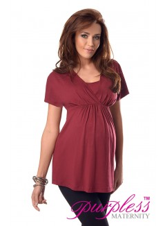2in1 Maternity & Nursing Top 7042 Burgundy