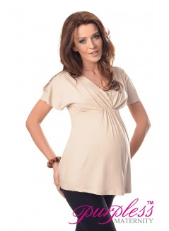2in1 Maternity & Nursing Top 7042 Beige