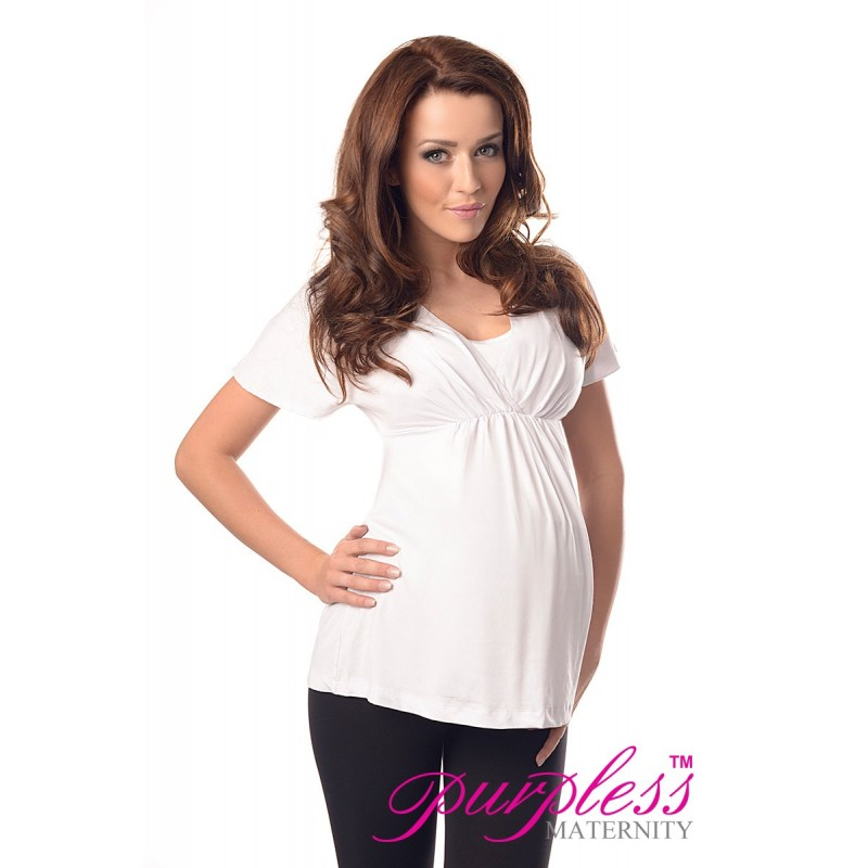 2in1 Maternity & Nursing Top 7042 White